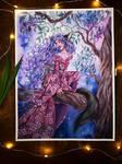 Bakeneko watercolor painting