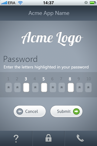 iPhone app design for password input screen by samadarag