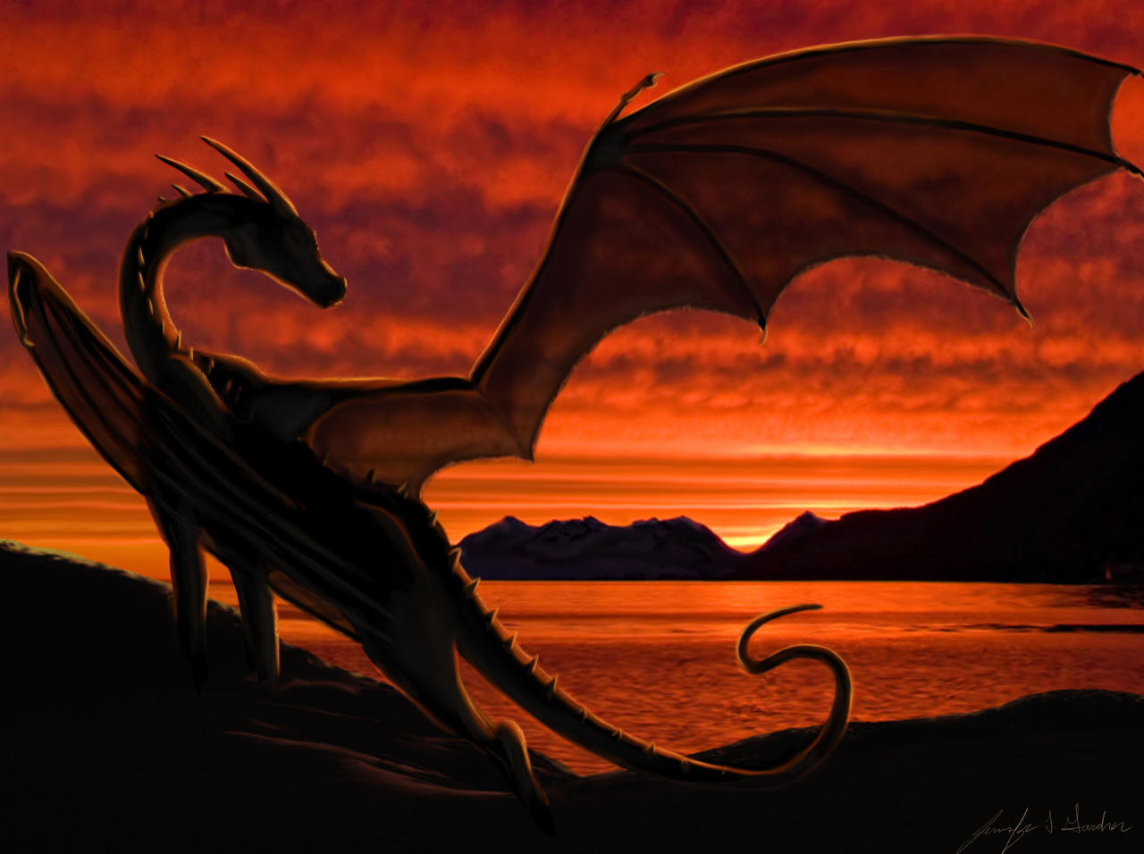 Water dragon in sunset by Mearow on DeviantArt |Dragons And Sunsets