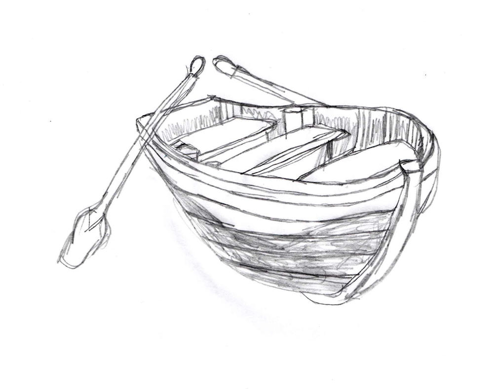 Wooden Boat Sketch By DrawingManuals