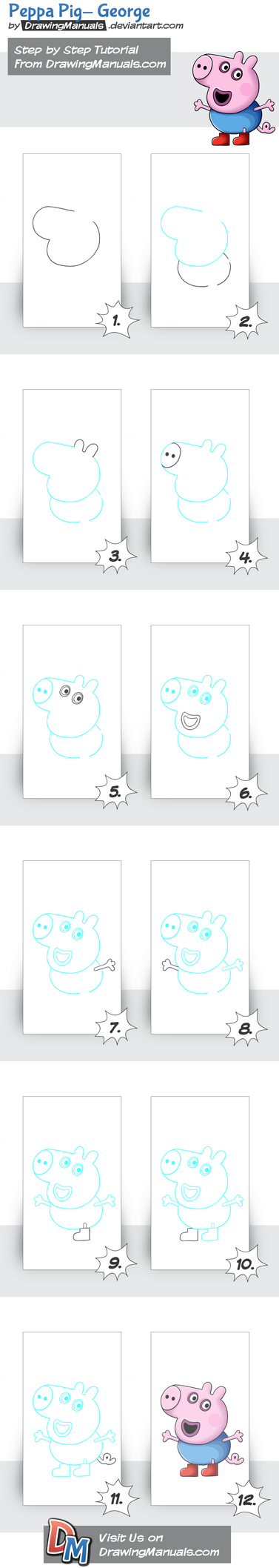 How-to-draw-peppa-pig-george Deviantart by DrawingManuals