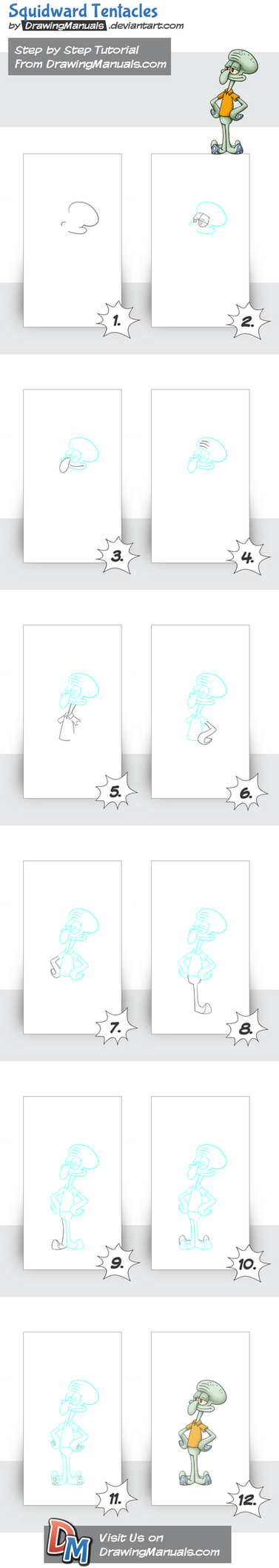 How-to-draw-squidward-tentacles-spongebob-squarepa by DrawingManuals