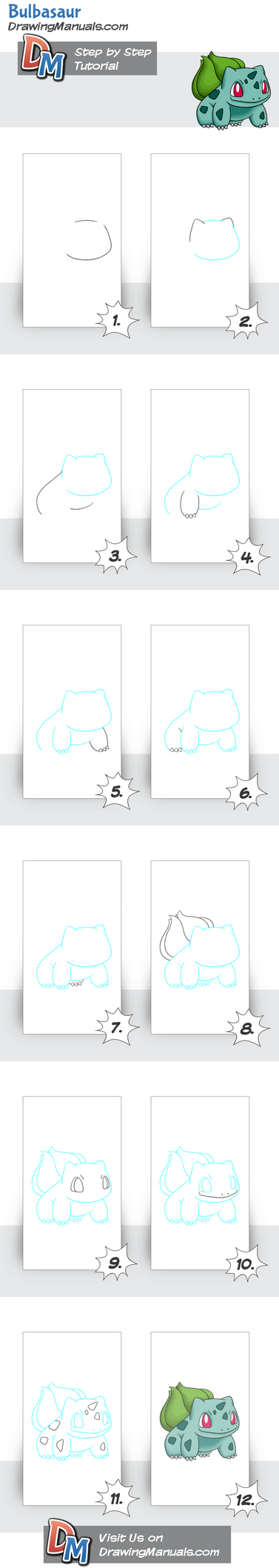 How-to-draw-bulbasaur-pokemon Pinterest by DrawingManuals