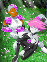 Cyborg and Jinx Another Moment by jodi-seer