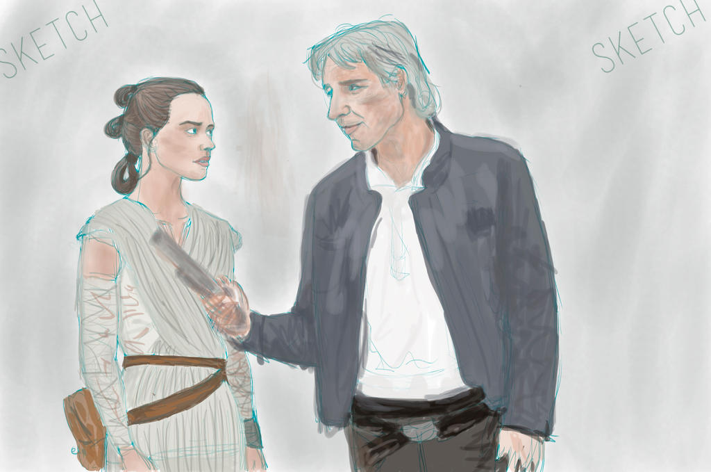 Han Solo and Rey by ahpe-crazy-crow