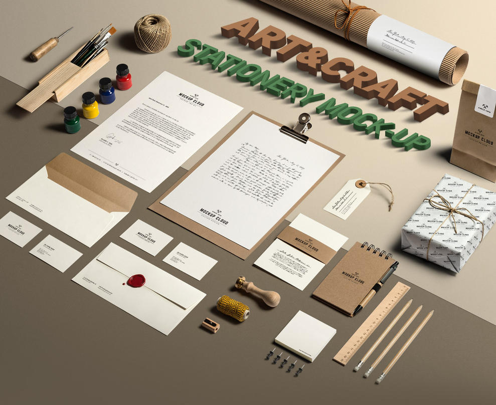 Art and Craft Stationery Mock-Up by Genetic96