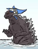 Batman Riding Godzilla by NiteOwl94