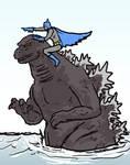 Batman Riding Godzilla