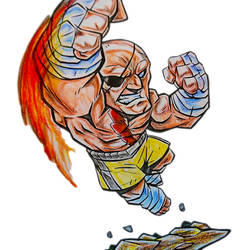 Sagat from a bootleg Street Fighter Coloring Book