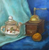 Teapot, tangerine and coffee grinder by Kaitana