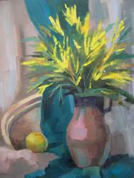 Still life with mimosa by Kaitana