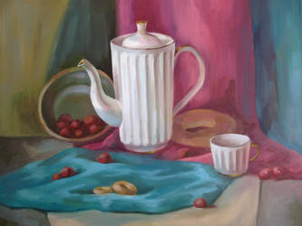 Still life with crockery, bagels and berries by Kaitana