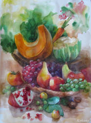 Stillife With Fruits And Vegetables by Kaitana