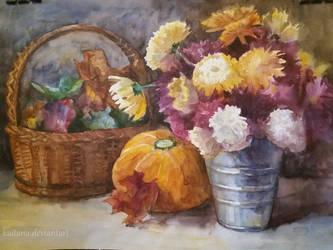 Stillife with chrysanthemums and pumpkin by Kaitana