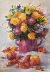 Stillife with flowers, apples and viburnum by Kaitana