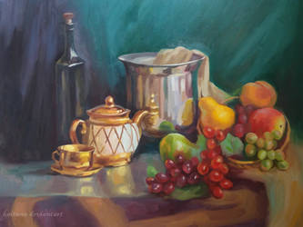 Stillife With Kitchenware And Fruits by Kaitana