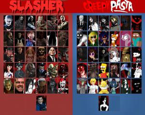 Slasher vs Creepypasta Select screen
