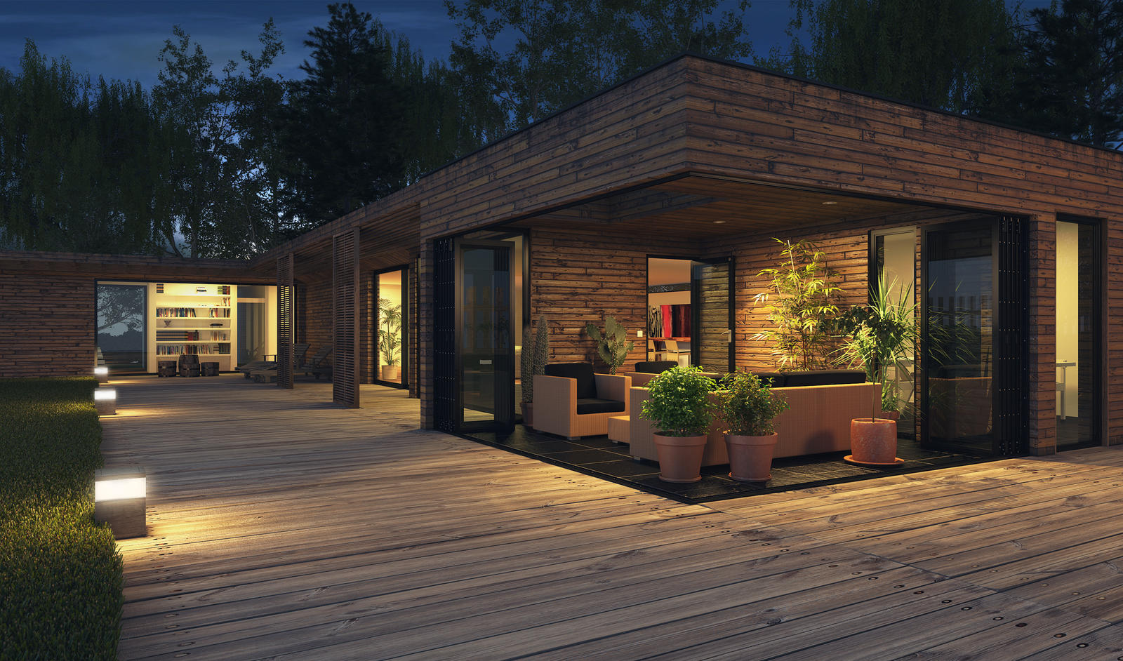 Modern house night by joaonetoartcg on deviantart for Modern house at night