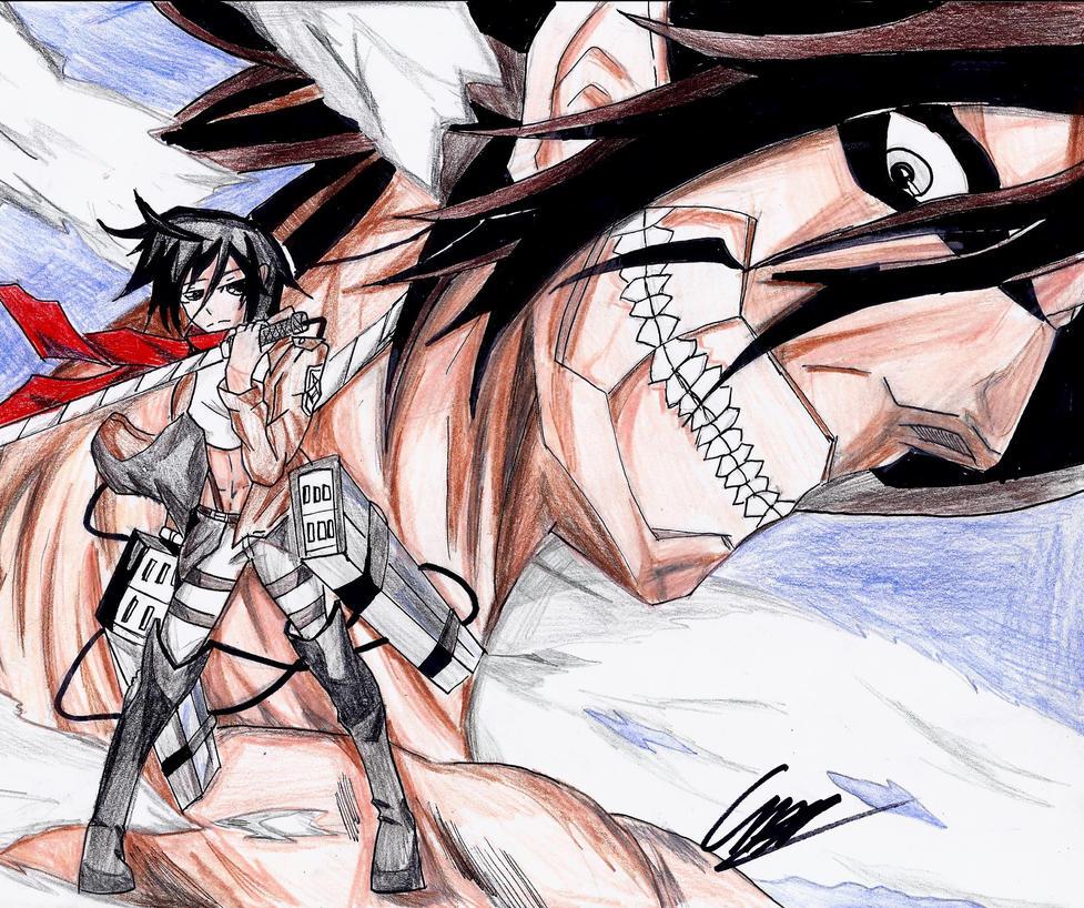 Attack On Titan Mikasa And Titan Eren by dulest9494