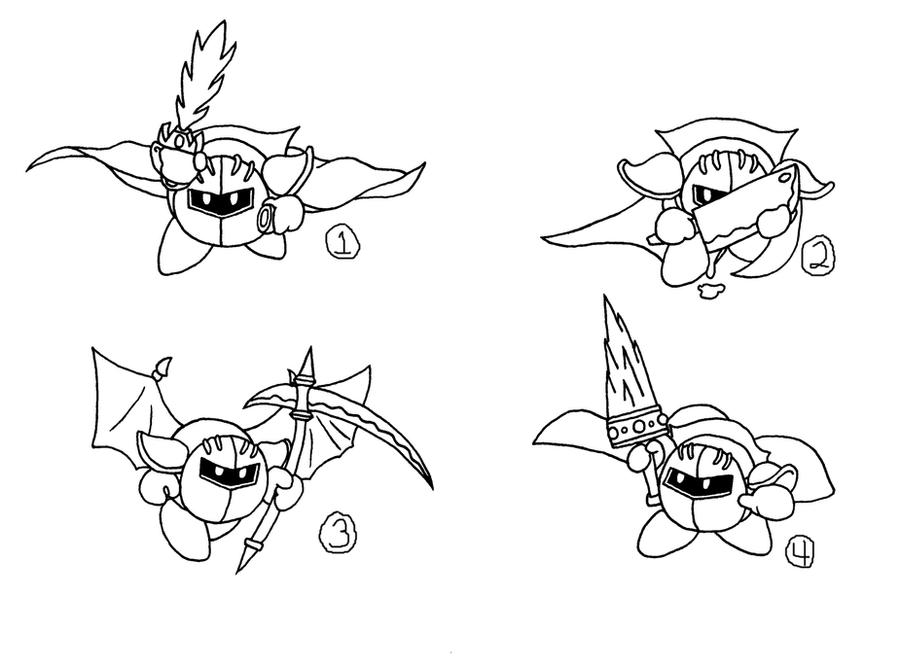Meta Knight Vs Kirby Coloring Coloring Pages