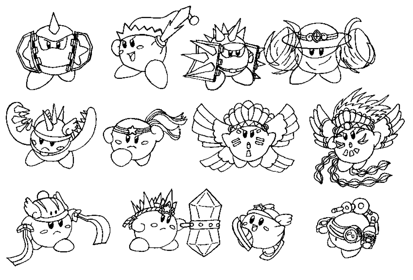 Fire kirby coloring pages coloring pages for Nintendo kirby coloring pages to print