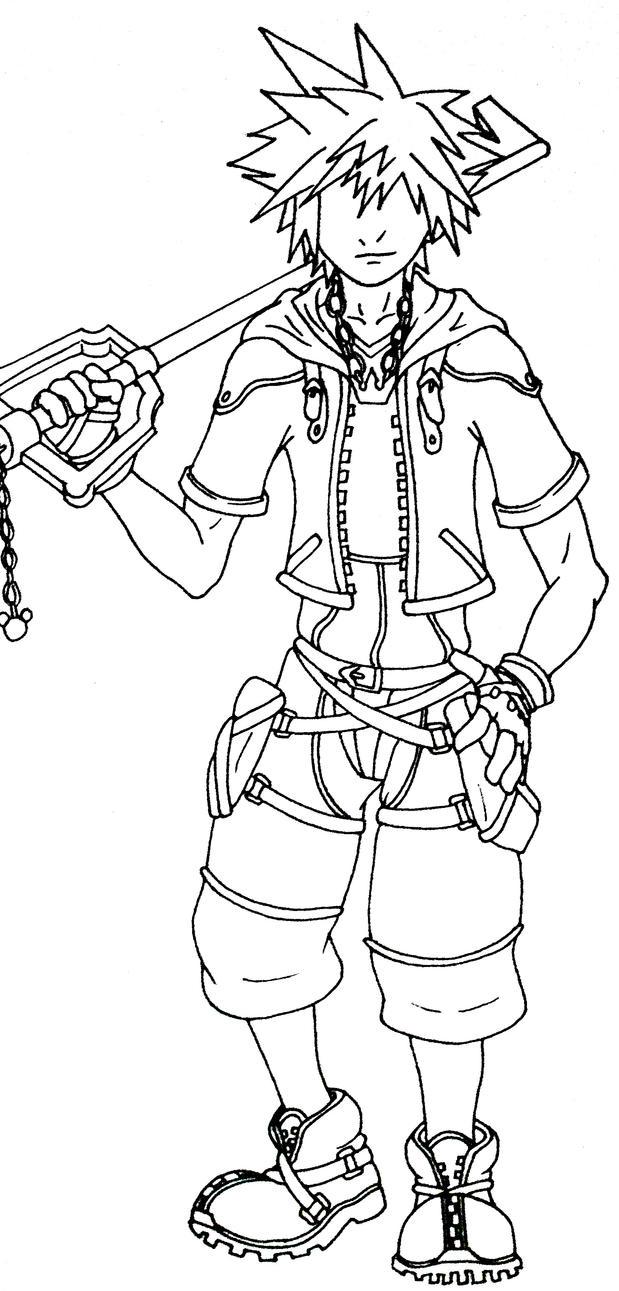 Kingdom Hearts Lineart : Kingdom hearts sora lineart by dragler on deviantart