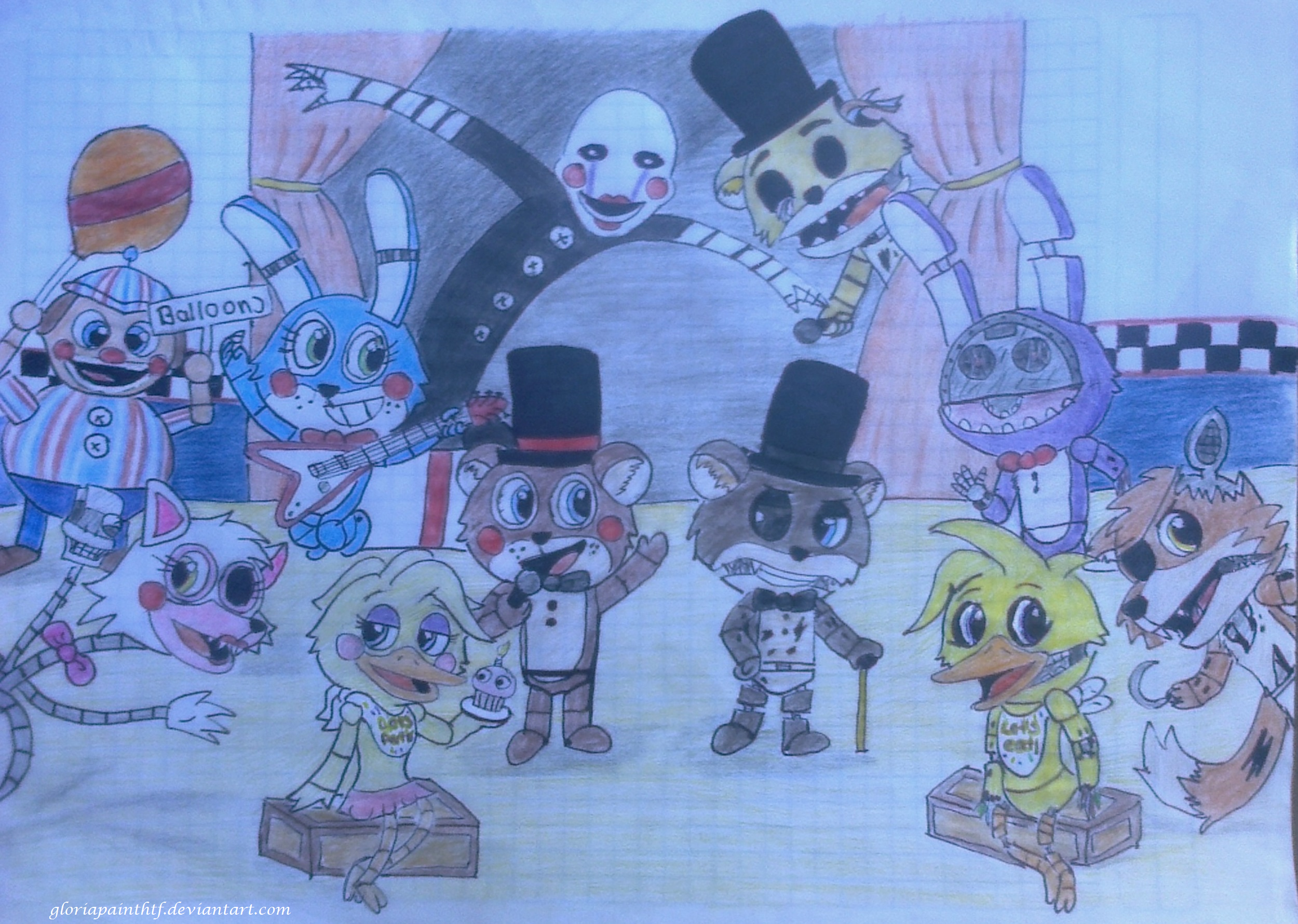 Five Nights At Freddys 2 Hand Drawing By Gloriapainthtf On