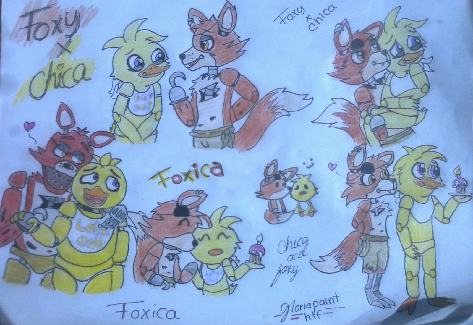 Foxy x chica doodles 3 by gloriapainthtf on deviantart