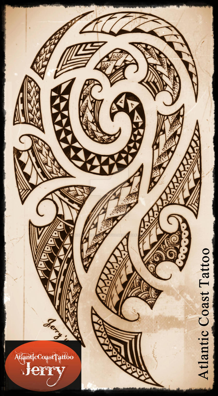 polynesian maori samoan tattoo design drawing by