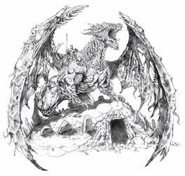 Zombie Dragon w/ mounted Wiht King