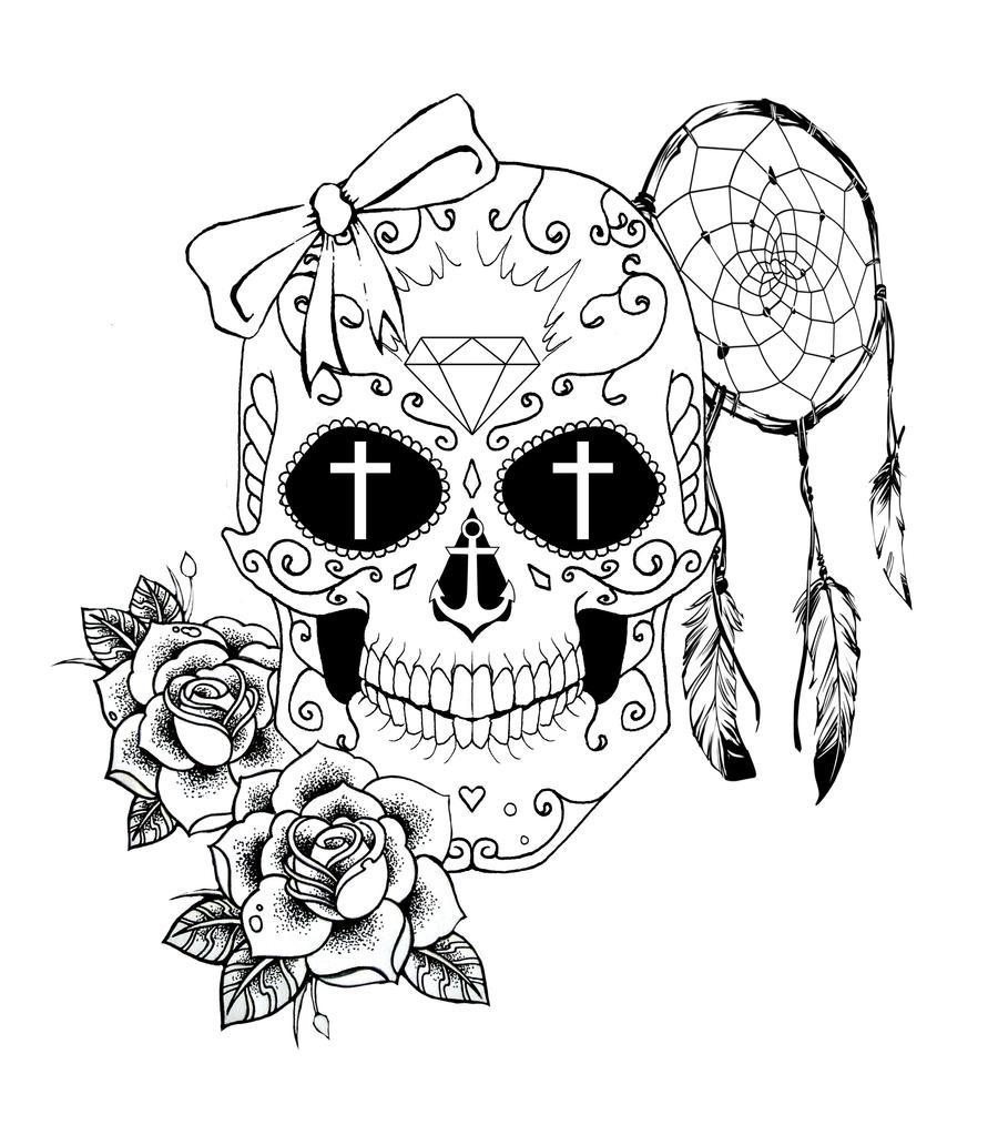 рисунок тату череп