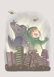 Godzilla and Sakuzilla by yaninpoart