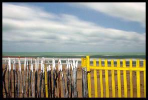 Sea Behind Fence at Night by maxholanda