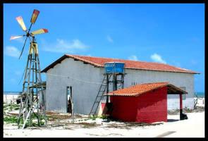 House and Windmill at Beach by maxholanda