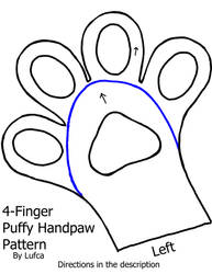 Free 4 Finger Puffy/Toony Handpaw Pattern