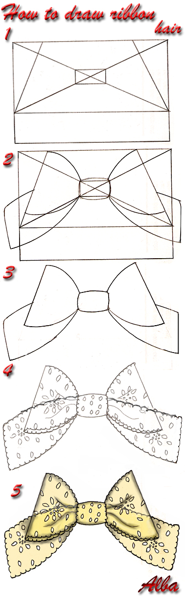how to draw and shade ribbon