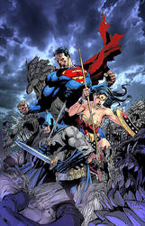 The Trinity fighting against Doomsday's.