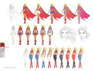 Sketches of Kara/Supergirl's different costumes.