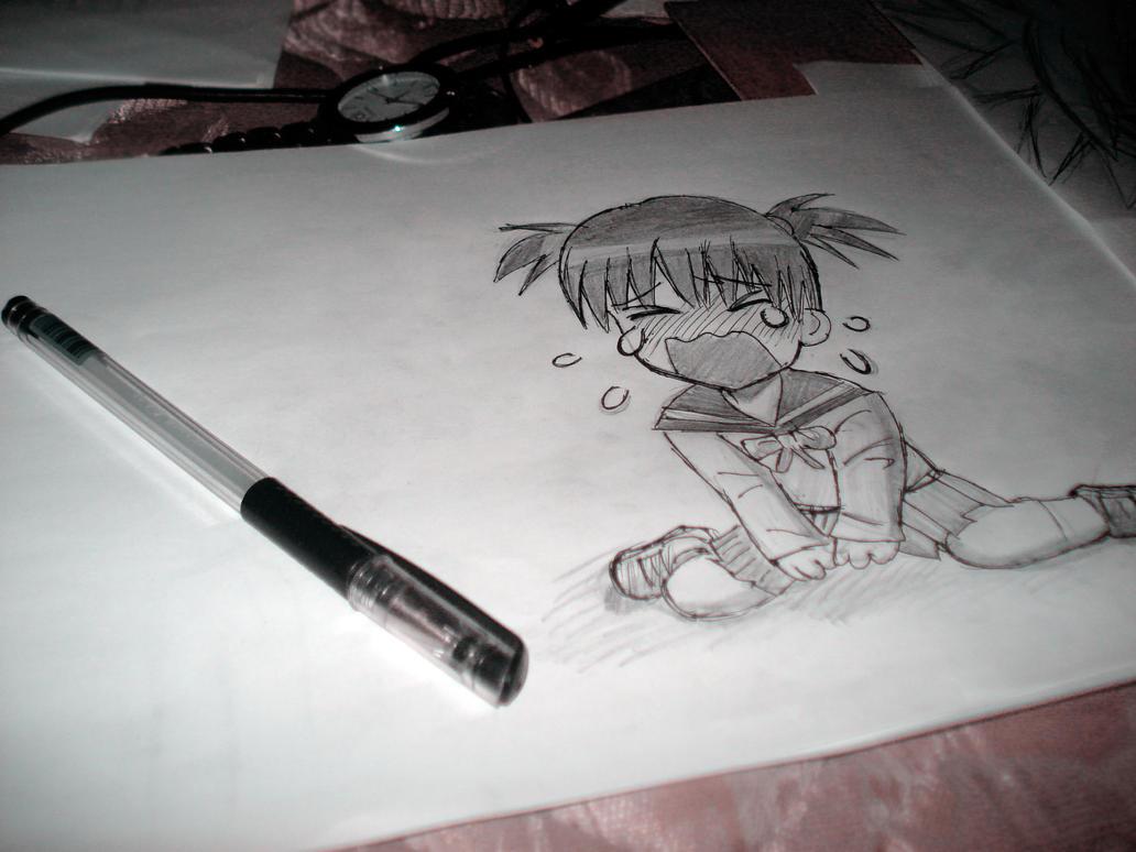 Draw Anime Girl Chibi: Crying By Dhykandhykaa