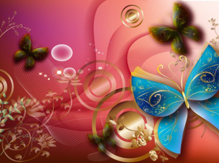 Butterfly-plant-background-vector by vectorbackgrounds