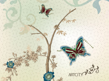Butterfly-flowers-vector-background-cover-design by vectorbackgrounds