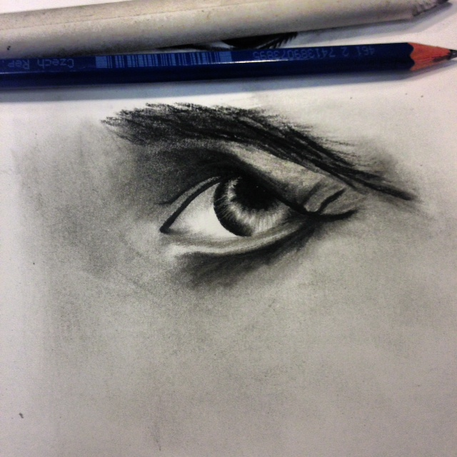 Old man eye/ Charcoal by Artistinmotion22
