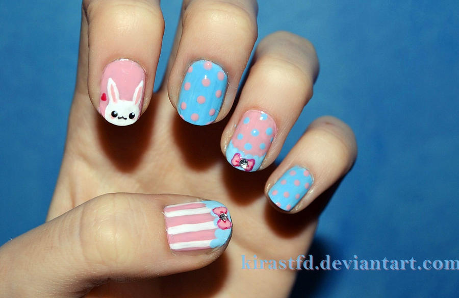 Kawaii Easter nails by KiraSTFD on DeviantArt