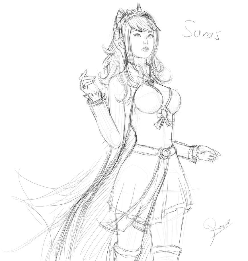 My OC Saras sketch #2 by ronggo