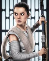 Rey The New Jedi Fanart (Timelapse Video) by ronggo