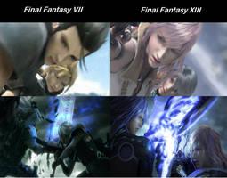 Final Fantasy VII Comparison Final Fantasy XIII by TaiyoTsuki5000