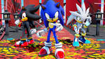 (MMD x Sonic) Sonic, Shadow, And Silver by NamiSakiwa