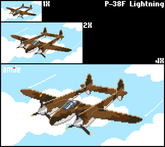 Pixel P-38F Lightning by amade