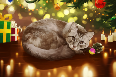 The cat under the tree