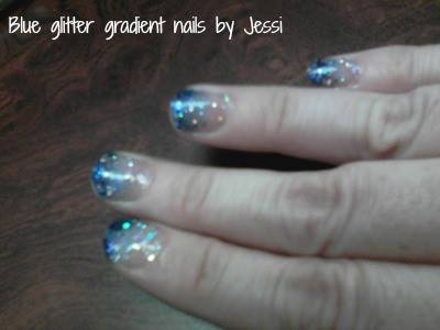 Blue glitter gradient nails by swampthing333